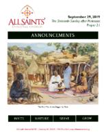 Announcements 09.29.2019 Pent 16