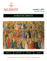 Announcements 11.03.2019 All Saints' Day