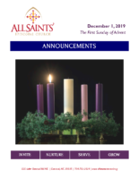 Announcements 12.01.2019 Advent 1