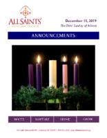 Announcements 12.15.2019 Advent 3