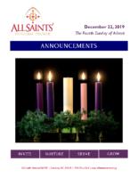 Announcements 12.22.2019 Advent 4