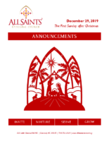 Announcements 12.29.2019 Christmas 1