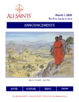 Announcements 03.01.2020 Lent 1