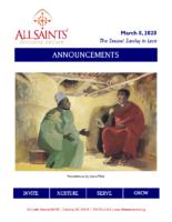Announcements 03.08.2020 Lent 2